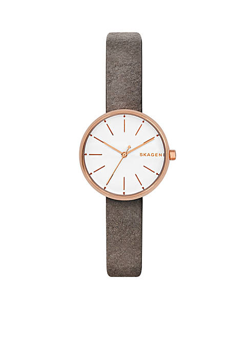 Skagen Womens Rose Gold-Tone Signature Leather Watch