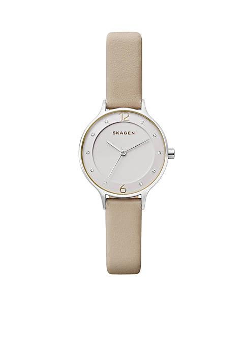 Womens Silver-Tone Anita Leather Watch