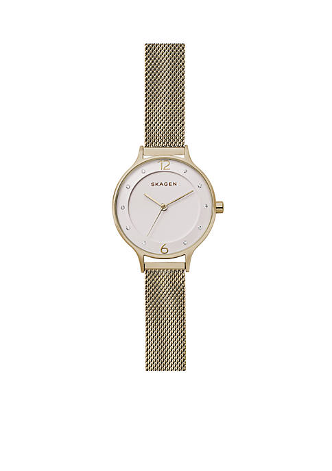 Skagen Womens Gold-Tone Anita Steel Mesh Watch