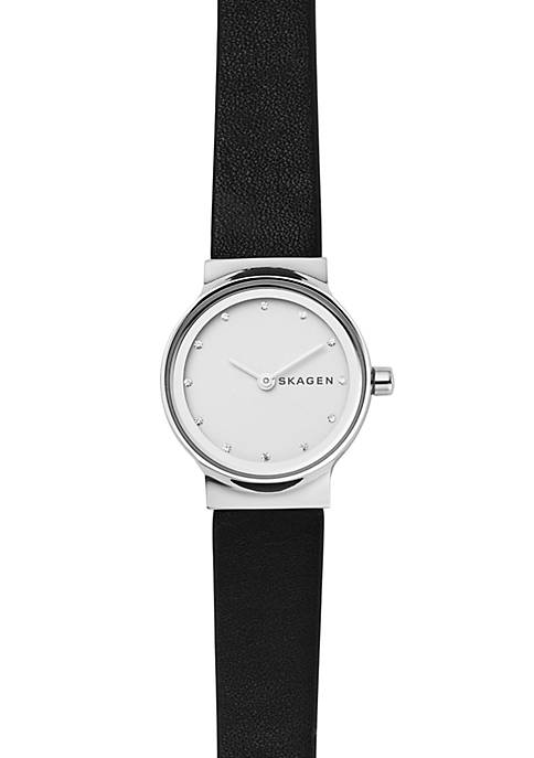 Womens Stainless Steel Black Leather Watch