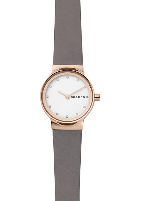 Womens Freja Gray Leather Watch