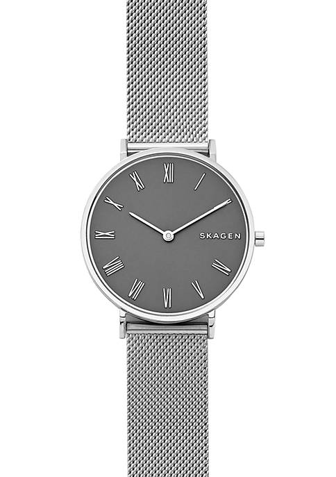 Skagen Silver-Tone Slim Hald Steel-Mesh Watch