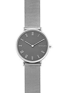 Silver-Tone Slim Hald Steel-Mesh Watch