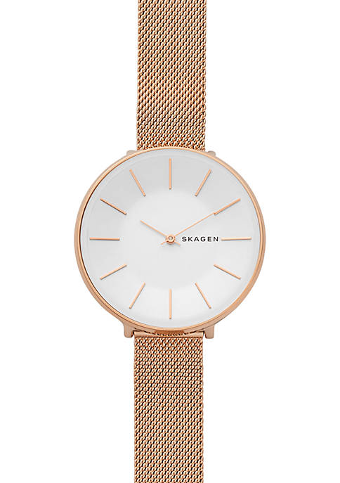 Skagen Womens Rose Gold-Tone Karolina Steel-Mesh Watch