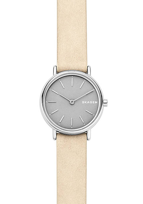 Womens Stainless Steel Signatur Slim Nubuck Leather Watch
