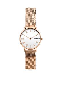 Rose Gold Hald Mesh Watch