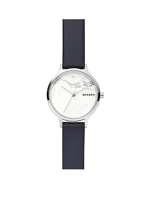 Womens Stainless Steel Anita Blue Leather Stone Watch