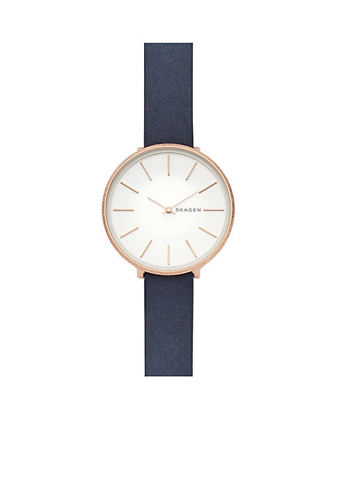 Womens Rose Gold-Tone Karolina Blue Leather Watch