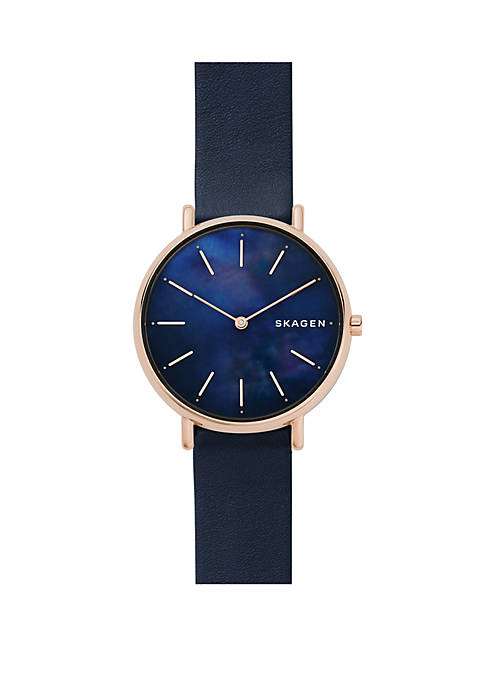 Skagen Signatur Navy Leather and Rose Gold-Tone Case