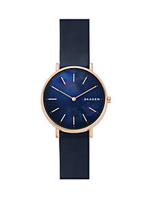 Skagen Signatur Navy Leather and Rose Gold-Tone Case Watch
