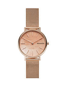 Skagen Signatur Rose Gold-Tone Mesh Mother-of-Pearl Watch