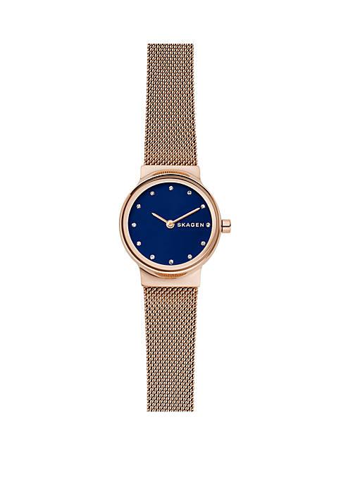 Freja Rose Gold-Tone Mesh Navy Dial Watch