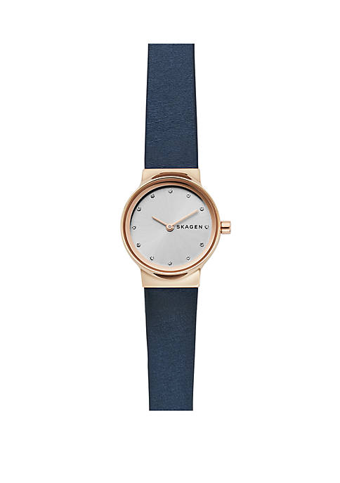Freja Leather Strap Rose Gold-Tone Case Watch