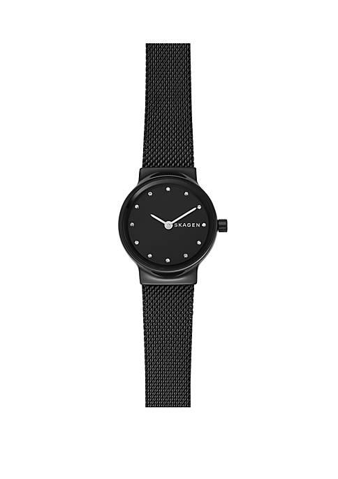 Freja Black Steel-Mesh Watch