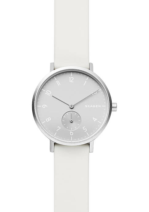 Aaren Kulør White Silicone Watch