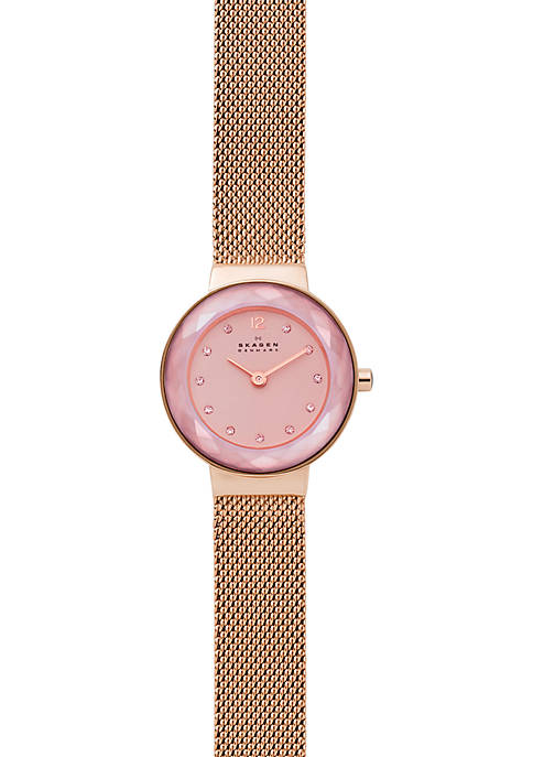 Skagen Lenora Rose Tone Steel Mesh Watch