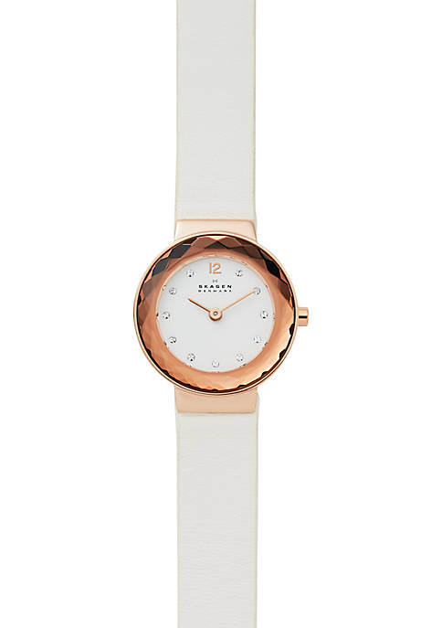 womens rose gold tone stainless steel Lenora White Leather Watch