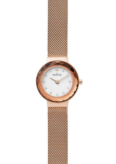 Skagen Womens Leonora Rose Gold Tone Steel Mesh