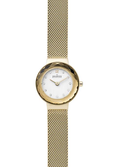 Womens Leonora Gold Tone Steel Mesh Watch
