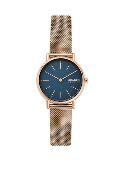 Womens Signature Two-Hand Rose-Tone Steel-Mesh Watch