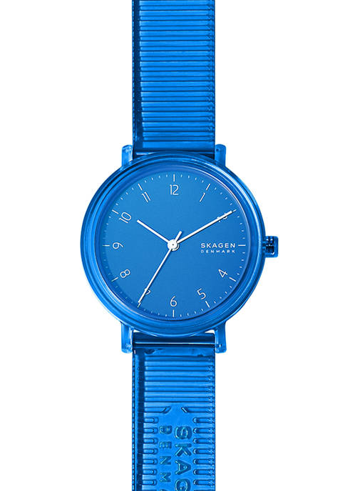 Womens Aaren Blue Silicone Watch