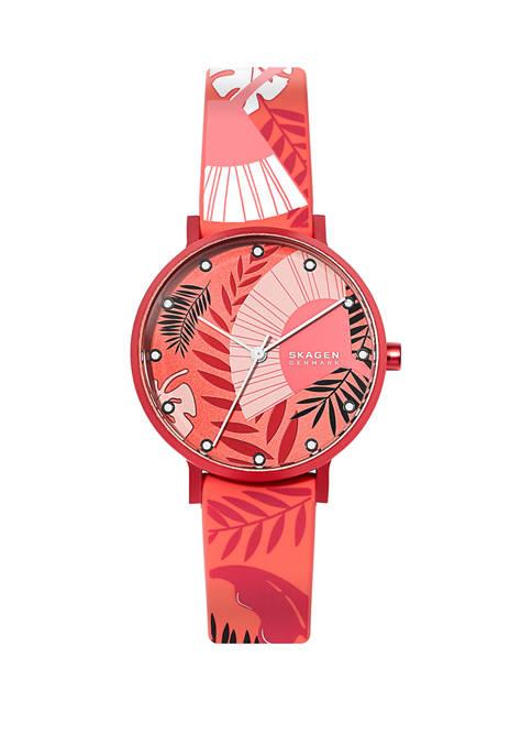 Womens Aaren Orange Silicone Watch