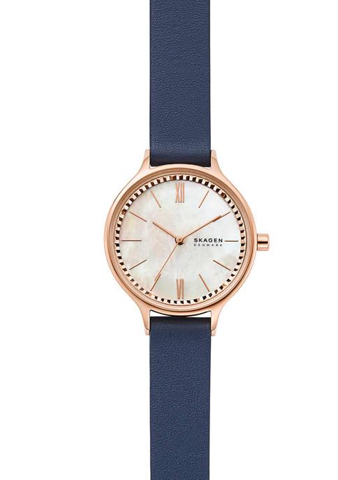 Anita Blue Leather Watch