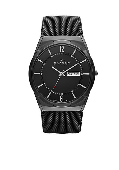 Skagen Mens Black Mesh Titanium Watch