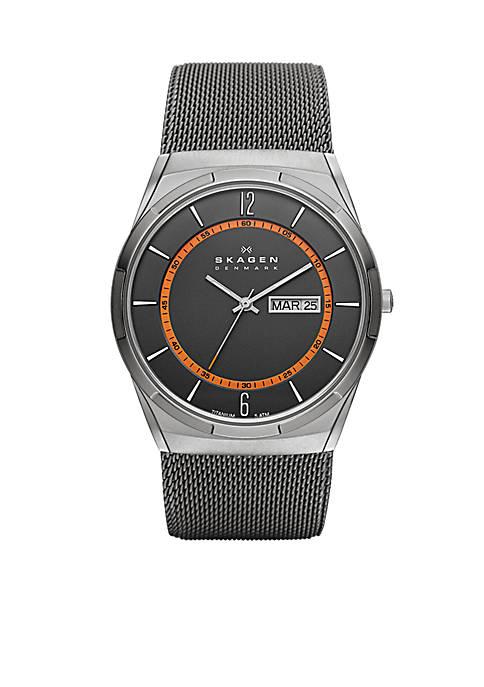 Skagen Mens Gray Mesh Titanium Watch