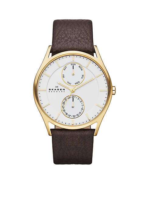 MENS BROWN LEATHER GOLD CASE MULTI72:No Size:NO COLOR