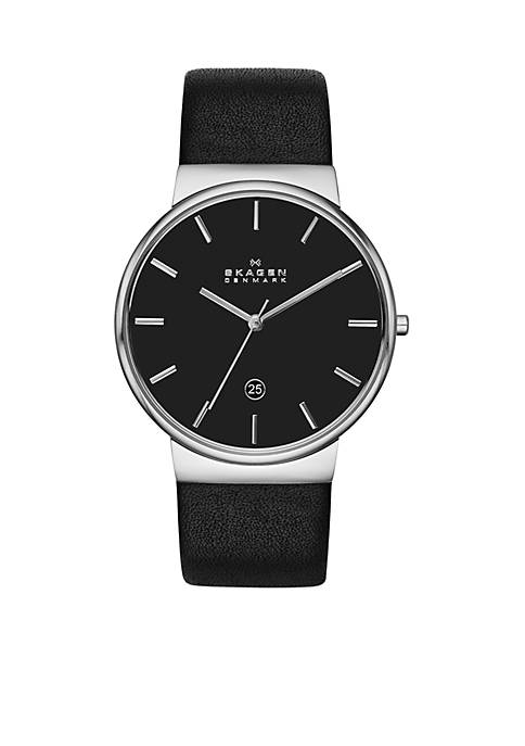 Mens Ancher Black Leather Watch