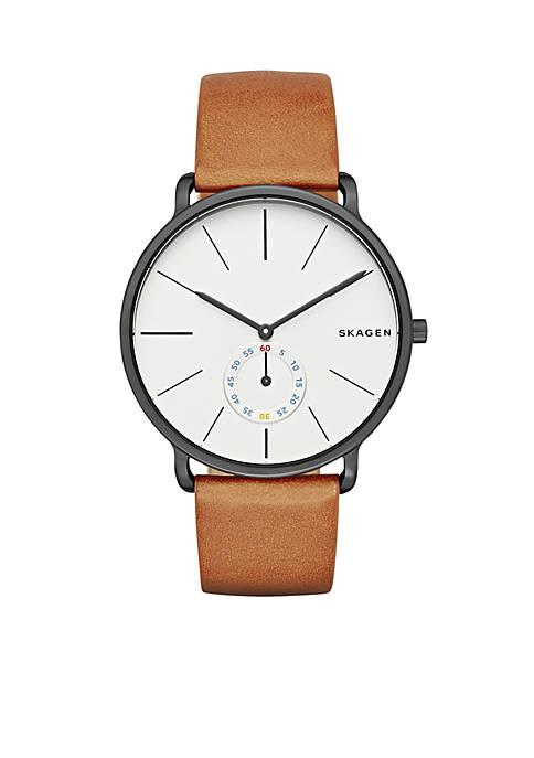 Skagen Mens Hagen Cognac Leather Three Hand Watch
