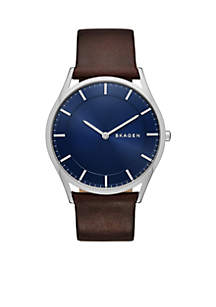Men's Holst Brown Leather Two Hand Watch