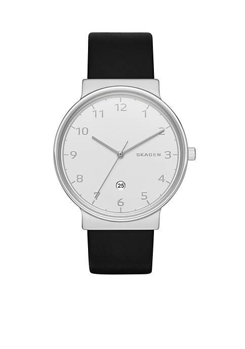 Skagen Mens Ancher Black Leather Watch