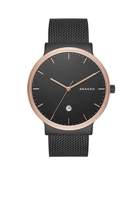 Skagen Mens Ancher Black-Tone Stainless Steel Mesh Watch