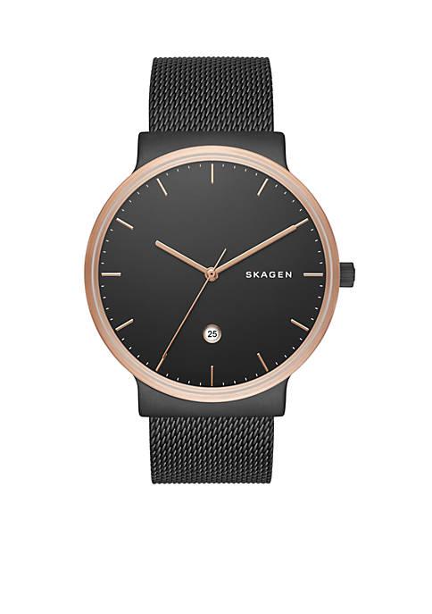 Skagen Mens Ancher Black-Tone Stainless Steel Mesh Watch