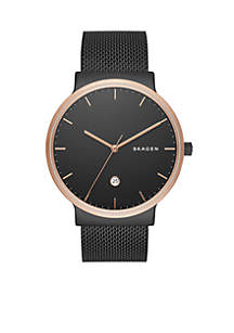Men's Ancher Black-Tone Stainless Steel Mesh Watch