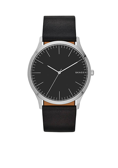 Skagen Mens Jorn Black Leather Watch