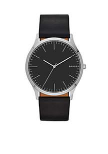 Men's Jorn Black Leather Watch