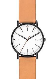 Men's Hematite-Tone Signature Leather Watch