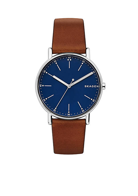 Mens Silver-Tone Signature Leather Watch