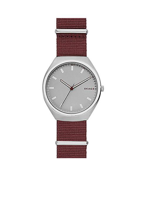 Womens Silver-Tone Grenen NATO Nylon Watch