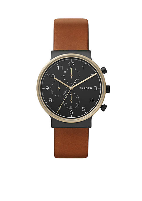 Skagen Mens Gold-Tone Ancher Leather Chronograph