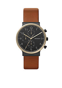 Men's Gold-Tone Ancher Leather Chronograph
