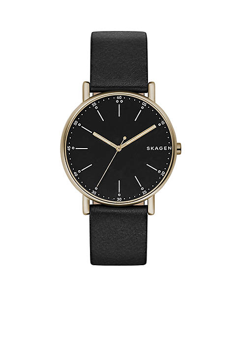 Skagen Mens Gold-Tone Signature Black Leather Watch