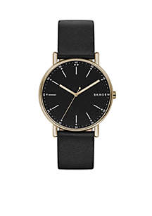 Men's Gold-Tone Signature Black Leather Watch