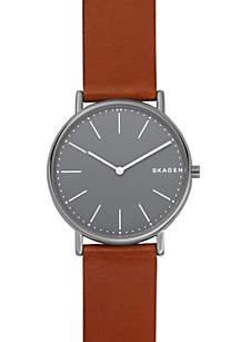 Men's Signature Slim Titanium and Cognac Leather Watch