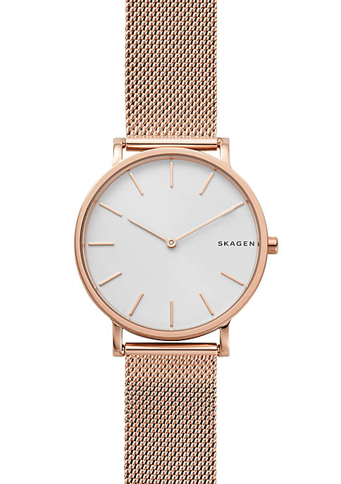 Skagen Mens Rose Gold-Tone Hagen Slim Mesh Watch