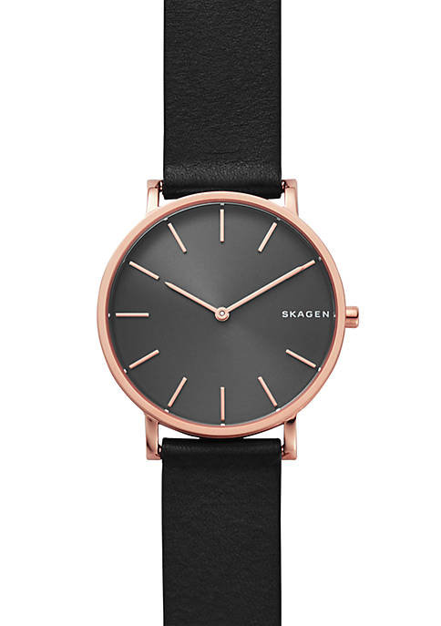 Skagen Mens Stainless Steel Hagen Slim Leather Strap