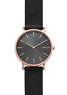 Men's Stainless Steel Hagen Slim Leather Strap Watch